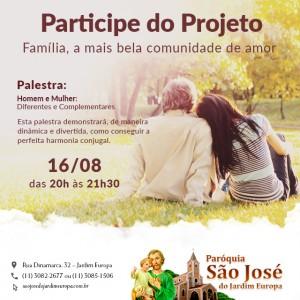 Participe da 3º palestra do Projeto Família