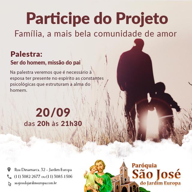 Participe da 5º palestra do Projeto Família