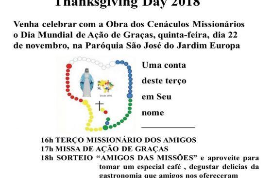 Thanksgiving Day - DIA MUNDIAL DE AÇÃO DE GRAÇAS 2018